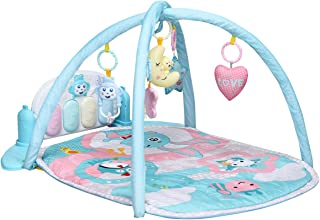BABY JOY Baby Play Mat Lights and Melodies Explore Activity Gym, Kick and Play Newborn Toy, with Detachable Piano, Foot Game Carpet Piano Fitness Rack, 5 Pendants, Ideal for Baby Room, Nursery (Blue)
