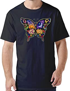 ZYXcustom Custom Personalized T-Shirt Adult Celestial Day and Night Butterfly T-Shirt for Men