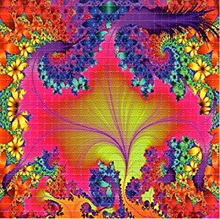 Neon Fractal Flower Design Psychedelic Blotter Art Print Perforated Sheet, Acid Free LSD Art Paper 30x30, 900 tabs, 7.5 inch, in Clear Protective Sleeve