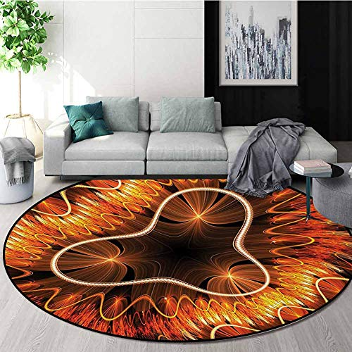 Purchase RUGSMAT Fractal Modern Washable Round Bath Mat,Abstract Electromagnetic Waves Textured Dyna...