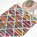 Homescapes Kelim-Teppich/Vorleger Amsterdam, handgewebt aus Baumwolle, 90 x 150 cm, bunter Baumwollteppich mit geometrischem Muster & Fransen