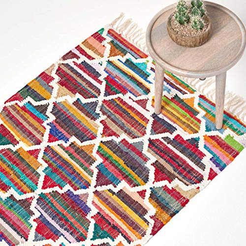 Homescapes Kelim-Teppich Amsterdam, handgewebt aus Baumwolle, 120 x 170 cm, bunter Baumwollteppich mit geometrischem Muster und Fransen