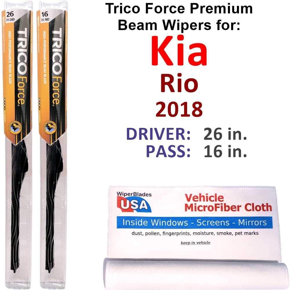 Premium Beam ギフ_包装 毎日続々入荷 Wiper Blades for 2018 Trico Set Rio Kia Force