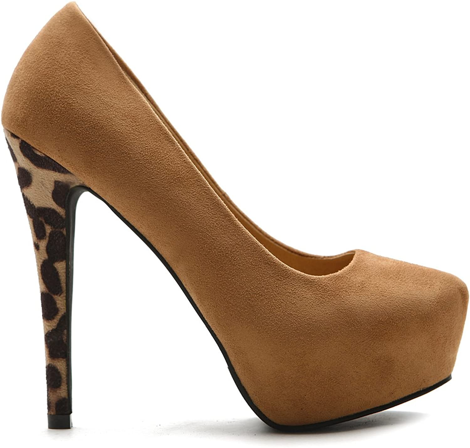 Ollio Women's Platform shoes Faux Suede Stiletto Leopard High Heels Multi color Pump