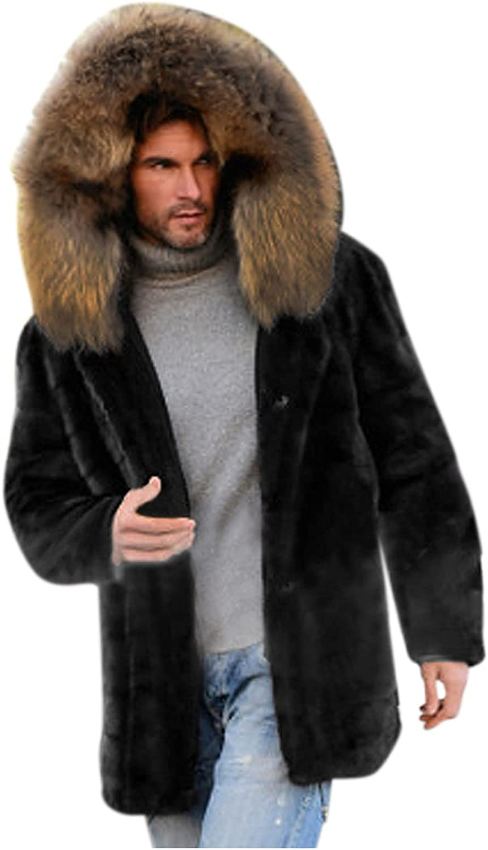 FORUU Winter Jacket For Men with Hood,Winter Casual Warm Jacket Fashion Sherpa Cardigan Long Jacket Plus Size Wool Coat