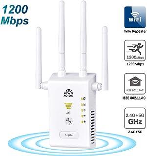 Aigital WiFi Repetidor, 1200Mbps Extensor de Red WiFi (2.4G&300Mbps+5G 867Mbps) Amplificador señal WiFi con 4 Antenas Externas, 2 Puerto Ethernet, Modo Extensor y Router, Cobertura WiFi de 160 m²