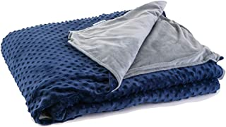 DensityComfort Duvet Cover for Weighted Blanket | Adult 48x72 | Soft Navy Gray Minky Dot Design | Machine Washable