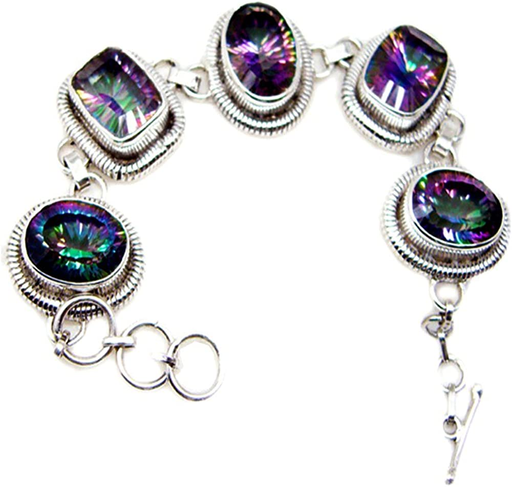 Classy Mystic Genuine Quartz CZ Sterling Link Mixe Style Silver Bracelet In stock