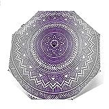 Zen Boho Ombre Mandala Design Print Travel Paraguas Sombrilla-Sombrilla de protección solar ligera a prueba de viento-Botón de apertura y cierre automático