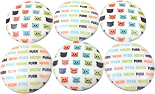 Set of 6 Cats Meow Print Wood Cabinet Knobs