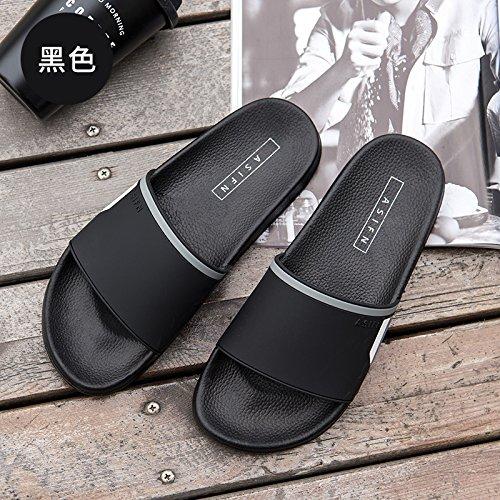 FankouDie Bäder sind cool im Sommer Sandalen Herren Hausschuhe Herren - Slip flache Unterseite für Paare und Outdoor beach Sandalen männlichen Tide, 39, Schwarz
