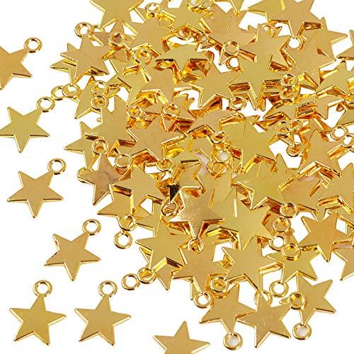 FLOFIA 100pcs Dijes Estrellas Oro dorado Mini Colgante Star Chapado Oro Aleación Vintage Retro 3D para Pulsera Collares Pendiente Bisutería Joyería Artesanía DIY (10*13mm)