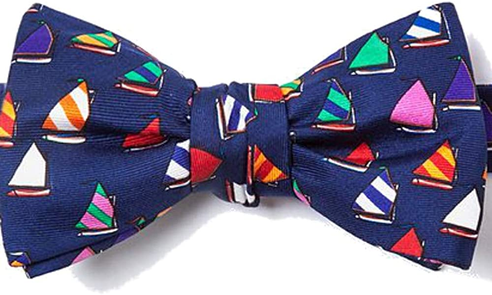 100% Silk Rainbow Fleet Sailboat Sailing Self Tie Bow Tie Bowtie Neckwear