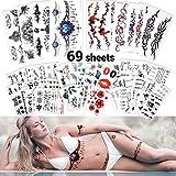 SnailGarden 69 Feuilles Tatouage Temporaire,Impermeable Faux Tatouages,Body Art Autocollant Ensemble,Tatouage Ephemere pour Adultes Hommes Femmes Enfants