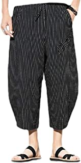 Mogogo Mens Relaxed Striped Athletic Fit Linen Plus Size Jogger Sport Pants