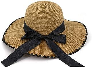 2019 Womens Hats Caps Womens Summer Handmade Crochet Beach Straw Sun Hat for Womens Handmade Black Ribbon Bow Long Holiday Fedora Lady Fashion Casual Lightweight Handmade
