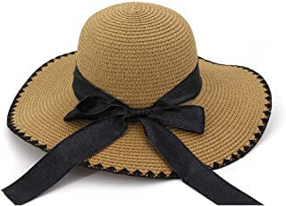 Casual Hat Straw Sun Hat Handmade Black Ribbon Bow Long Holiday Handmade Crochet Beach Sun Hat (Color : Coffee, Size : 56-58CM)