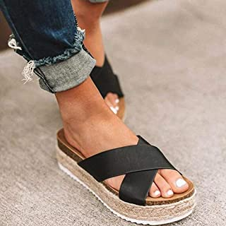 ZUOX Idéal Plage Claquette Sandales,Pantoufles à Sandales à Plateforme, Sandales Femme Taille Plus à Bouts Ouverts-Noir_3...