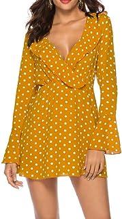 Shinningstar Womens V-Neck Spring Summer V-Neck Pagoda Sleeve Daily Casual Floral Dress
