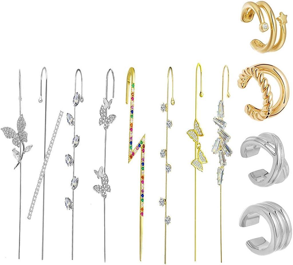 Earring Set - 1 Set Ear Wrap Crawler Hook Earrings for Women Ear Cuffs Earrings Ear Climber Earrings Clip On Cartilage Earrings
