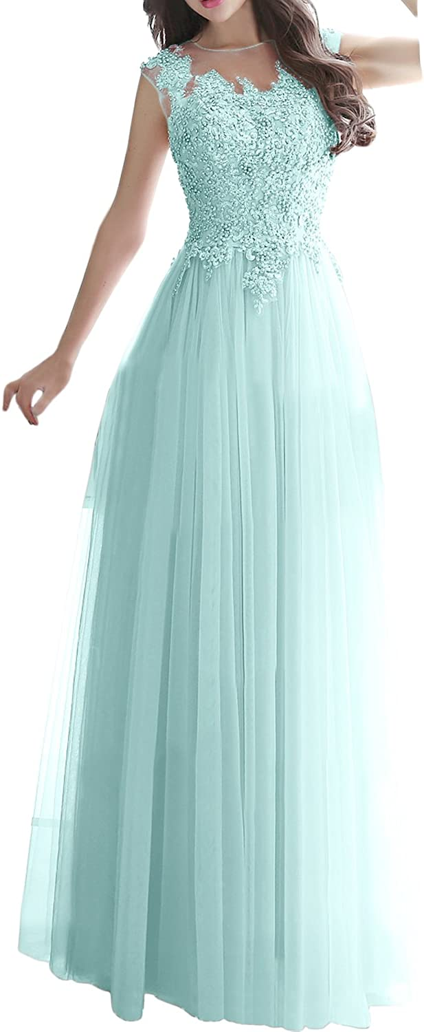 DressyMe Women's Bridesmaid Dress Lace Prom Gown ALine Tulle Back Cutout
