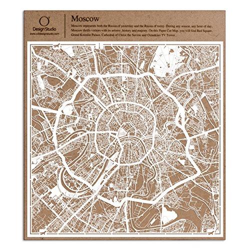 Moscú Recortes de papel del mapa Blanco 30x30 cm Arte de papel