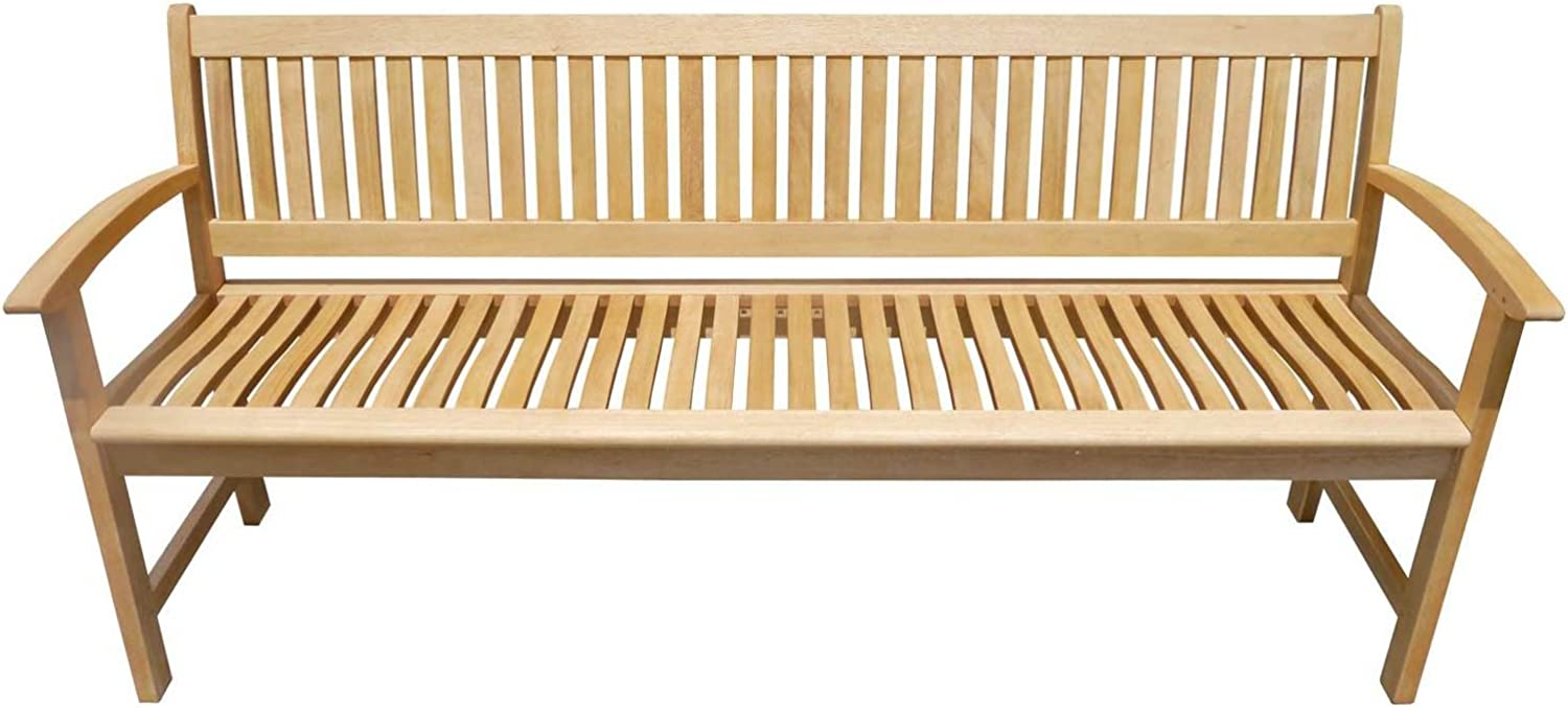 Swan Street Outdoor Park Bench Seat Natural Timber 4 Seater 1800mm Lucca