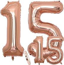Globos Número 15 Cumpleaños XXL de oro rosa - Helio Globo de lámina gigante en 2 tamaños 40