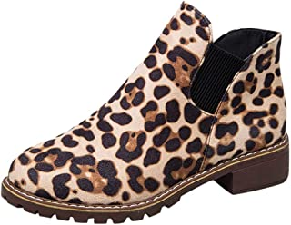 Kauneus Womens Suede Leopard Booties Chunky Low Heel Round Toe Fashion Casual Girls Ankle Boot Comfy Casual Boots