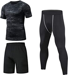Niksa 3 Pack Gym Clothes for Men,Running Clothes Sports Wear Set,Base Layers Tops+Zip Pocket Draw String Loose Fitting Sho...