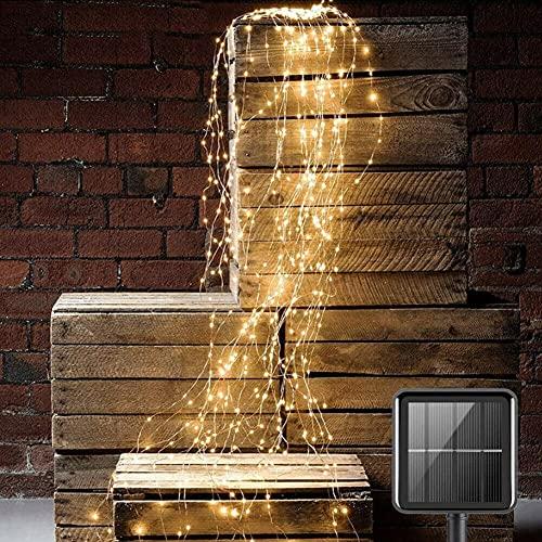 Solar-Wasserfall-Lichterkette, 8 Modi, hängende Rankenbaum-Lichter, 200 LEDs, 2 m lange Lichterkette, 10 Stränge, batteriebetrieben, wasserdicht, mit Fernbedienung (warmweiß)