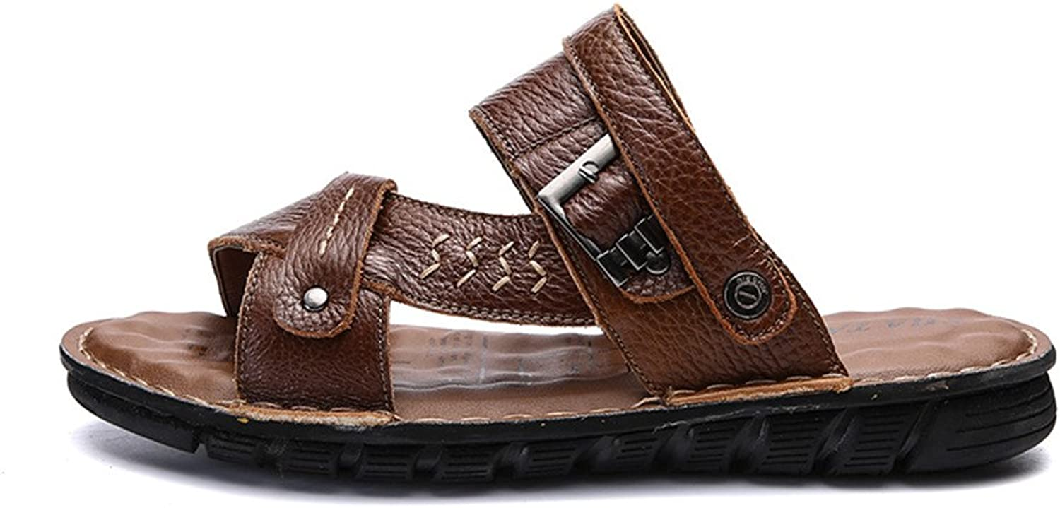XUJW-Sandals, Men's Summer Genuine Leather Beach Slippers Casual Breathable Non-Slip Soft Flat Open Toe Sandals