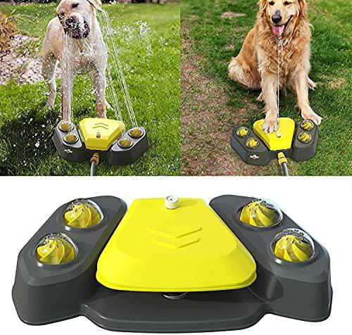 Rociador de agua para perros al aire libre, fuente de agua para perros, juguete de rociador para perros, salida de agua ajustable 4 agujeros de ducha para verano (amarillo)