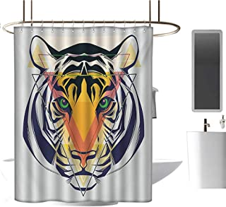 Modern Luxury Shower curtain36 x72 Tiger,Green Eyed Large Cat with Geometrical Shapes in Front of It Abstract Art,Navy Blue Multicolor,Durable Waterproof Fabric Bathroom Curtain