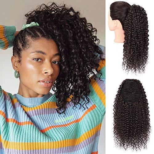 Afro Kinky Verworrene Perücke lockige Clip in Pferdeschwanz Gelockt Welle Haar Perücken mit Kordelzug Haarverlängerunge für African(schwarz/ca.35cm) VD059A