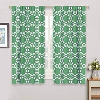 HouseLook Green Bedroom Thermal Blackout Curtains Moroccan Traditional Star Pattern Girih Tiles Inspired Geometrical Retro Arabic Curtain Blackout for Dining Room W97 x L85 Inch Sea Green White
