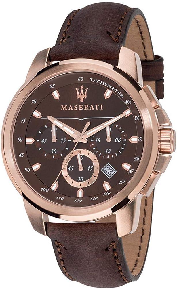 Maserati orologio da uomo, collezione successo,cronografo, in acciaio e cuoio 8033288702245
