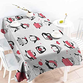 EwaskyOnline Elastic Tablecloth Rectangular,Winter Cute Penguins Hand Drawn Merry Christmas Greetings Babies Kids Toddler,Modern Minimalist,W54x90L, Dark Coral Black White