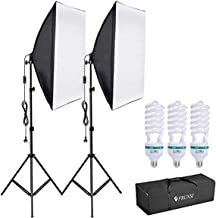 Softbox Lighting Kit, 135W 5500K LED Bulb 5070cm SoftBox with Socket Continuous Photography Lighting Tripod Kit for YouTub...