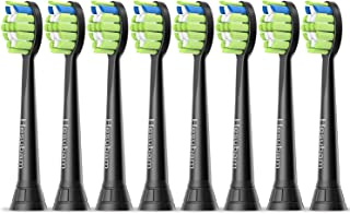 Toothbrush Replacement Heads Compatible with Philips Electric Toothbrush: Brush Heads for DiamondClean Flexcare 2 Series 3 Series C2 C3, 8 Pack Black by Hesubam