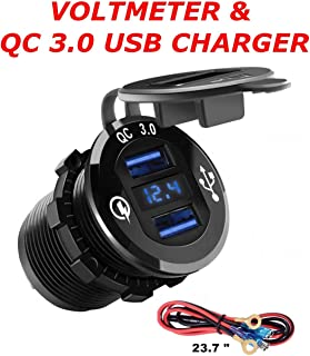 QC 3.0 Metal Housing Dual USB Socket Charger W/V-Meter for Boats, Polaris RZR 900, RZR 1000, Ranger, Mobile Home, RV, Can Am Spyders, (QC 3.0 Metal Blue)