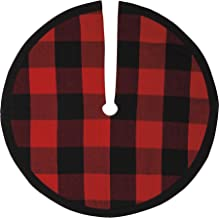 "Primitives by Kathy Buffalo Plaid Christmas Tree Skirt- 24"" Diameter, Black, Red, Checkered, Black Trim, Winter Decor, Chr..."