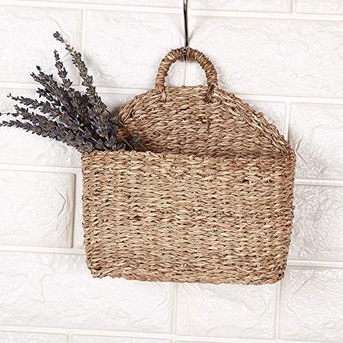 HXHON Cesta de almacenamiento para colgar, cesta de flores tejida para colgar, cesta de almacenamiento de mimbre natural con asa, para colgar en la pared, soporte para plantas (1 unidad)