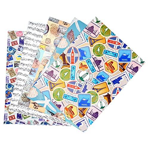 ARCA Carta da Regalo per Confezionamento Regali 5 Fogli 100x 70 cm 100% Carta Disegni da Viaggi Adulti (Voyage)