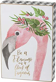 Primitives by Kathy Checkered-Trimmed Watercolor Box Sign, Be A Flamingo in A Flock of Pigeons
