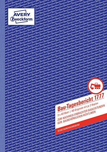 AVERY Zweckform 1777 Bau-Tagesbericht, (A4, selbstdurchschreibend, gem. baubehördlichen Richtlinien, für Deutschland und Österreich zum Nachweis ausgeführter Arbeiten) 3x40 Blatt weiß/gelb/rosa