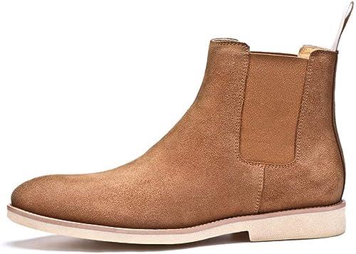 ZHRUI botas Chelsea de Cuero Genuino clásicas para Hombre botas de Suela Suave y Confort duraderas (Color   Caqui, tamaño   EU 44)