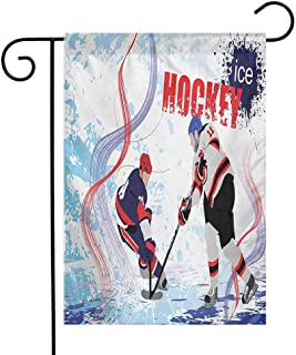 Zzmdear Garden Flag, Small Garden Outdoor Decorative Flags, Two Ice Hockey Players in Cartoon Style on Grunge Abstract Skating Rink Backdrop, Multicolor, 12