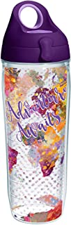 featured product Tervis 1250481 Adventure Awaits Tumbler with Wrap and Purple Lid 24oz Water Bottle, Clear