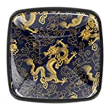 Black Cabinet Knobs Square Cabinet Knobs 4 Pack - Kitchen Knobs and Pulls for Cabinets Drawer Knobs Chinese <span class='highlight'>Golden</span> <span class='highlight'>Dragon</span> Pattern